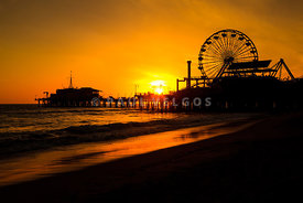 Santa Monica Pier California Sunset Photo