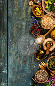 Flat lay of wild healing herbs. Clean eation, paleo, biohacking, herbal medicine concept