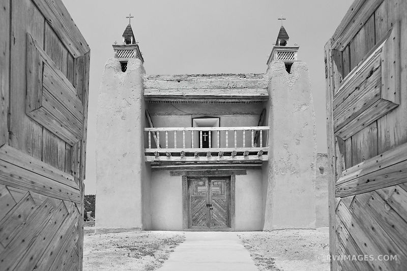 SAN JOSE DE GRACIA CHURCH LAS TRAMPAS HIGH ROAD TO TAOS NEW MEXICO BLACK AND WHITE