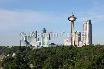 Tourist high-rise buildings of Niagara Falls, with the Skylon Tower prominent, Niagara Falls, Ontario, Canada