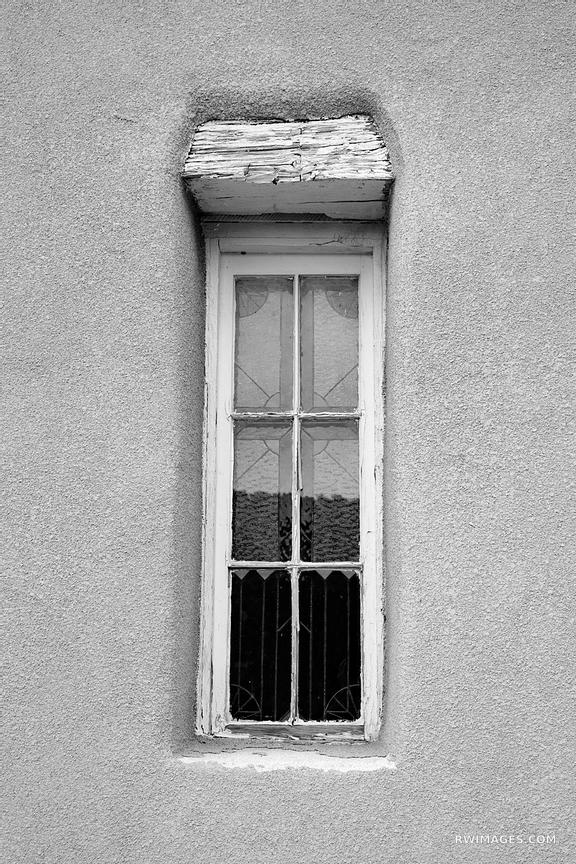 TURQUOISE TRAIL CHURCH WINDOW ADOBE STYLE ARCHITECTURE GOLDEN NEW MEXICO BLACK AND WHITE VERTICAL