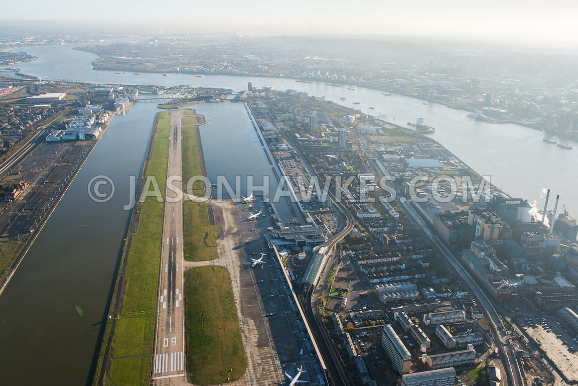 Aerial view of City Airport, London