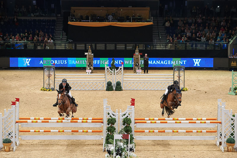 ASTON Chloe, (GBR), CHATEAU DE BRION QUAINTON during Knockout competition at CSI4* Liverpool International Horse Show at Echo Arena, Liverpool - United Kingdom
