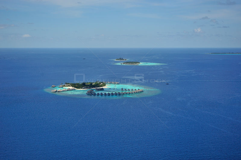 Aerial view of the islets and the lagoons which make the atoll, Maldives, Indian Ocean
