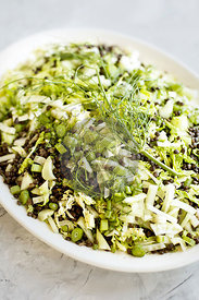 Black Lentil Green Veggie Salad served with Feta Mint Vinaigrette