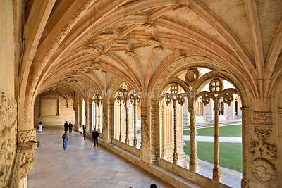 The Cloisters of the Jerónimos Monastery (Mosteiro dos Jerónimos), in manueline style, a UNESCO World Heritage Site. Lisbon, Portugal