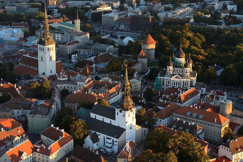 Aerial view of Tallinn Old Town, from the left St. Nicholas Church, St. Mary's Cathedral in the middle and Alexander Nevsky Cathedral