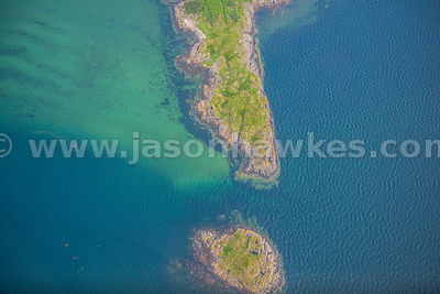 Aerial view of coast, Inner Hebrides, Scotland