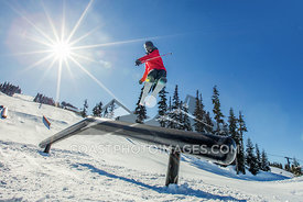 March 28, 2016: A skiier rides through the park on Whistler Mountain. Photo by Mitch Winton - coastphoto.com