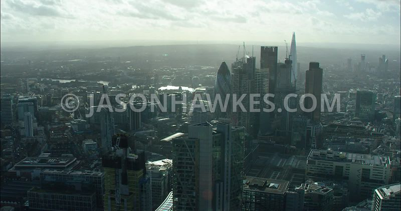 London Aerial footage, City of London construction and redevelopment on Bishopsgate.