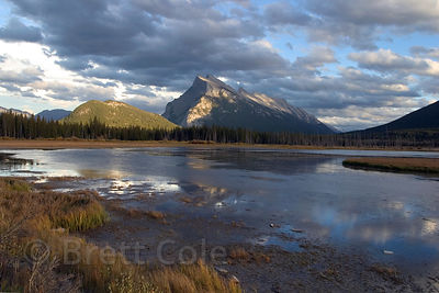 Mount Rundle reflecting in the Vermillion Lakes at sunset, Banff, Canadian Rockies.
