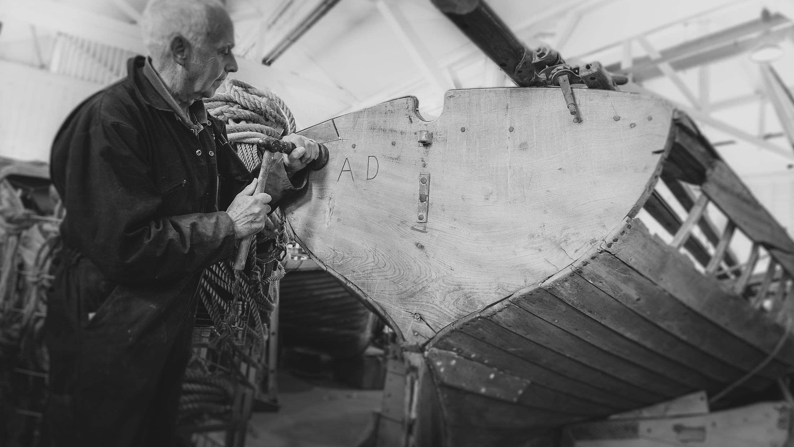 Carpenter working on Boat Restoration