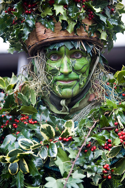 UK - London - A performer dressed as the Green Man (also known as  the Holly Man) from The Lions Part company - actors connected with London's Globe Theatre - acts in an annual traditional free theatre celebrating a 'wassail' celebration to herald the new
