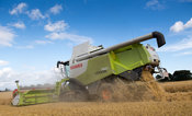 Combining Barley with a Claas Lexicon 760 combine and a 35ft header, with mounted cameras for better visability to driver. North Yorkshire, UK.