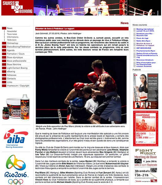 Swiss Boxing, Meeting Boxe Palezieux