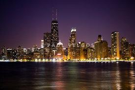 Chicago City At Night Photo