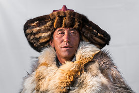 A portrait of a Kazakh eagle hunter in western Mongolia.