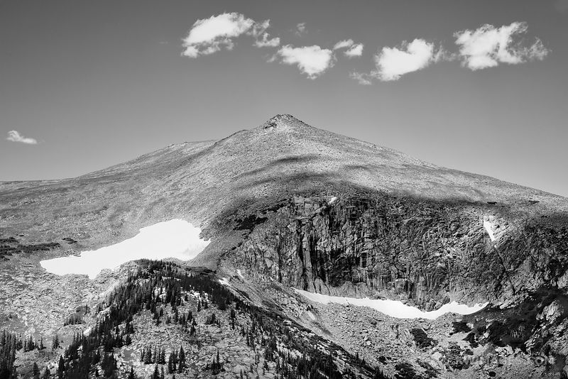 SUNDANCE MOUNTAIN FROM TRAIL RIDGE ROAD ROCKY MOUNTAIN NATIONAL PARK COLORADO BLACK AND WHITE