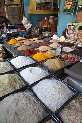 Grains and spices for sale at a market in Jodhpur, Rajasthan, India