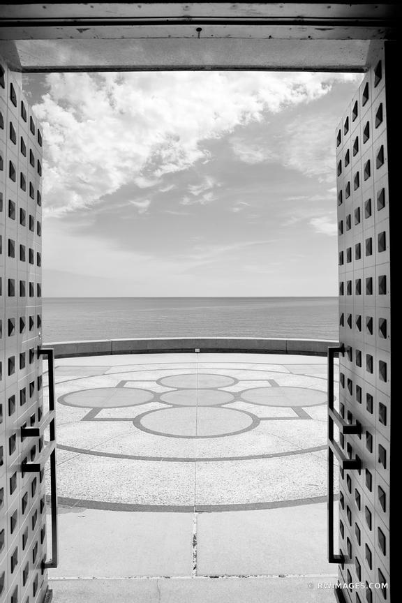 LAKE MICHIGAN DOOR MADONNA DELLA STRADA CHAPEL LOYOLA UNIVERSITY CAMPUS CHICAGO ILLINOIS BLACK AND WHITE
