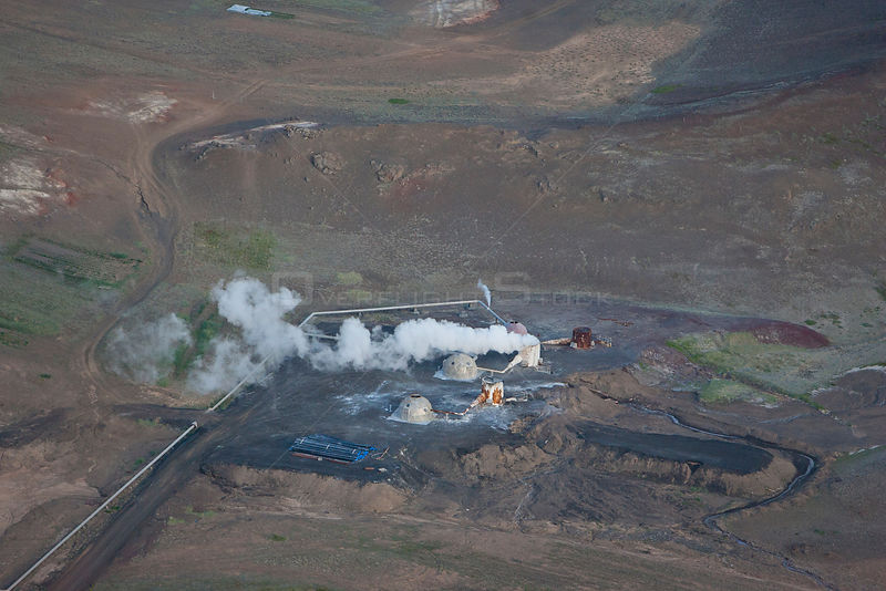 Aerial of Kisilidjan Diatomite Plant, Bjarnarflag, used to process Diaomaceous earth, an abrasive substance formed from the silica bodies of diatoms, Lake Myvatn, Iceland, July 2009.