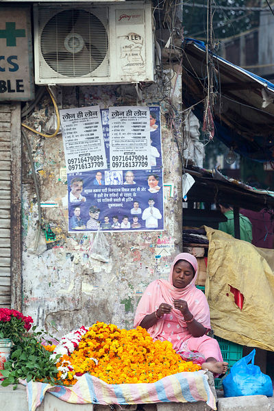 India - New Delhi - A woman threads marigolds beneath a wall with political posters