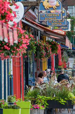 The terrace of the Cochon Dingue restaurant On Boulevard Champlain in the Old Quebec city Canada