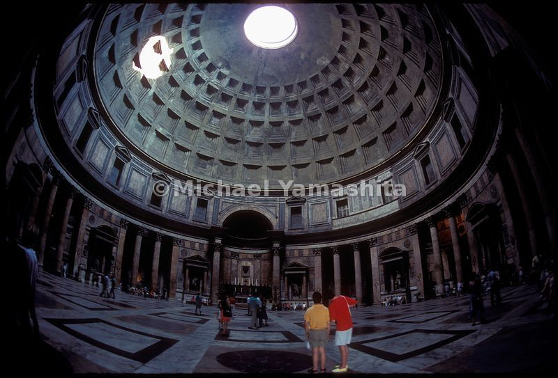 The interior dome of the Pantheon. Rome, Italy.