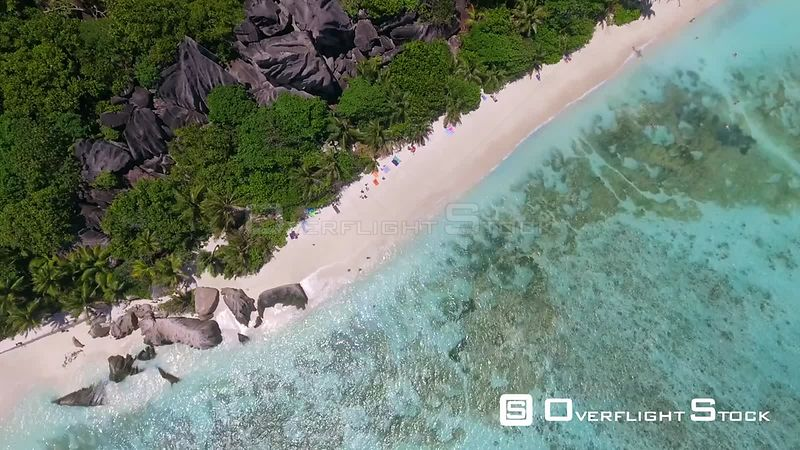 Overhead aerial view of beautiful Source D'Argent Beach in La Digue – Seychelles