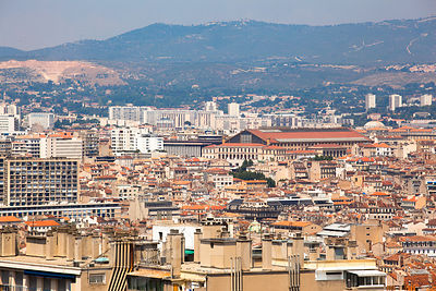 View Across Marseilles City to the Cathedral and Harbour