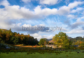 A farm at Glencoyne on the shore of Ullswater in the Lake District, England, UK.