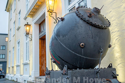 World War 2 mine on display outside the War Museum in Svolvær