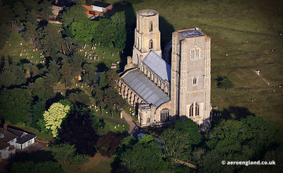 aerial photograph of Wymondham Abbey Norfolk England UK.