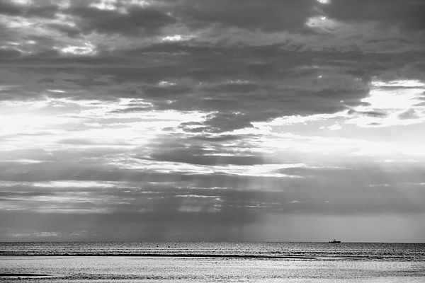 SUNSET ROCK HARBOR ORLEANS CAPE COD BLACK AND WHITE