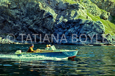 Motor boat on Sea of Okhotsk | Color reversal film