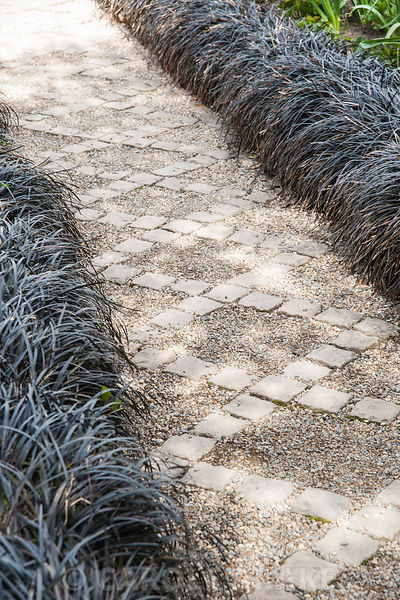 A path of stone setts and gravel in the Canal Garden is framed by black Ophiopogon planiscapus 'Nigrescens'. York Gate Garden, Adel, Leeds, Yorkshire