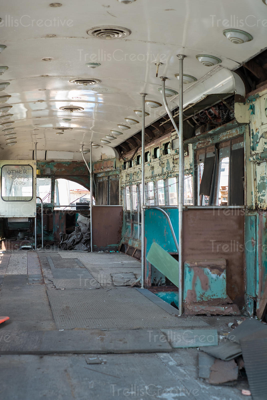 Interior of abandoned rusty vehicle