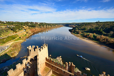 An elevated view of the Tagus river from the watchtower of the 12th century Templar castle of Almourol, located in the middle of an island. Portugal