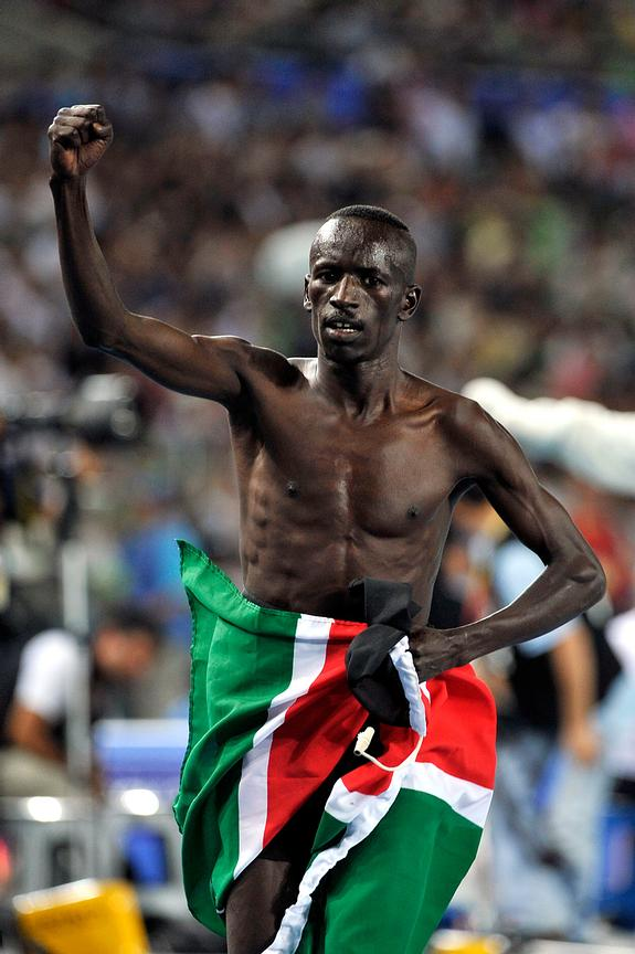 Ezekiel Kemboi from Kenya celebrates victory at the 3000m Steeplechase at the 2011 IAAF World Championships,Athletics,Daegu,S.Korea
