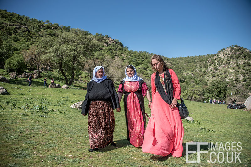 Traditionally Dressed Yezidi Women Walking Through A Field On Red Wednesday, Yezidi New Year, On Their Way To A Picnic In The Mountains of Lalish, Iraqi Kurdistan. 19th April 2017