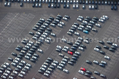 Aerial view of cars at Royal Portbury Dock, Bristol