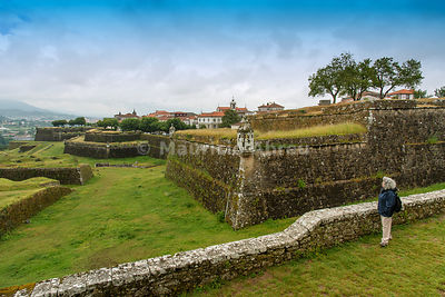 The 17th century fortifications of Valenca do Minho overlooking Galicia in Spain. Alto Minho, Portugal (MR)