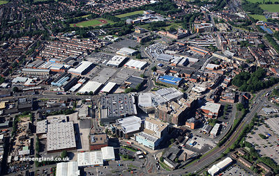 Bury town Centre  Bury Greater Manchester from the air