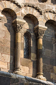 Southern facade's columns of Issoire abbey church in Puy de Dôme