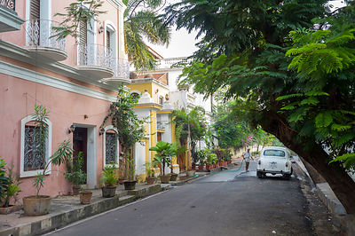 A man washes an Ambassador car in the early morning in a Colonial street, Pondicherry, India