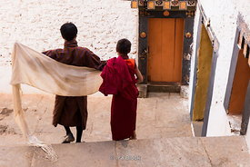 Young monk and boy stepping down the stairs at Punakha Dzong festival in Bhutan.