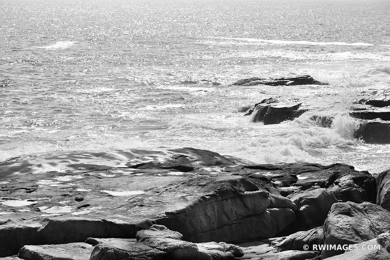 ATLANTIC OCEAN CAPE NEDDICK MAINE ROCKY COAST BLACK AND WHITE