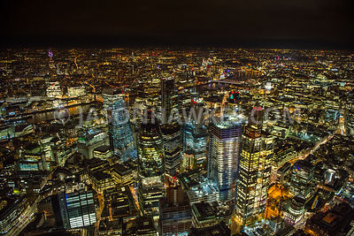Night aerial view of the City of London.
