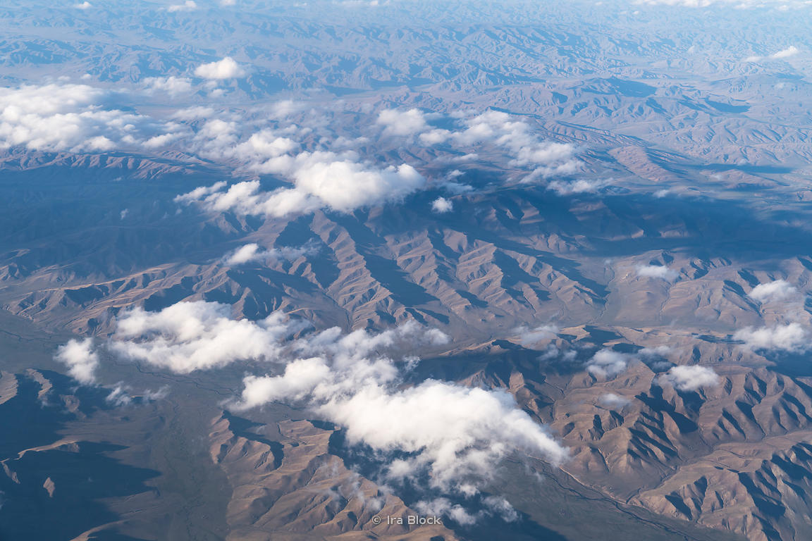 An aerial of the landscape in western Mongolia.
