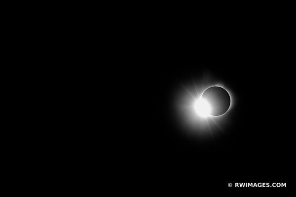 TOTAL SOLAR ECLIPSE CORONA AND DIAMOND RING EFFECT BLACK AND WHITE